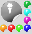 Ice Cream icon sign Set of eight multi colored vector image