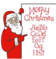 santa claus with christmas alphabet 01 vector image
