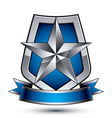 Renown silver star emblem with wavy ribbon placed vector image
