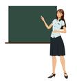 Teacher in front of chalkboard vector image
