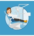 Scared patient in dental chair vector image