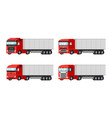 four different red trucks for delivery goods vector image