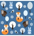 winter forest with animals vector image