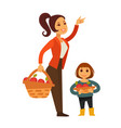 woman and child gather apple fruit harvest in vector image