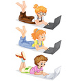 People using laptop computer vector image