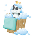A panda toy and a rubber duck inside a pail vector image vector image