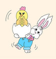 Easter bunny holding a chick vector image