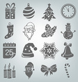 Set of Christmas icons isolated vector image vector image