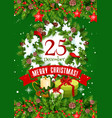 christmas wreath with gift and star greeting card vector image