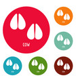 cow step icons circle set vector image