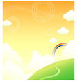 Green mountain and rainbow in sky vector image