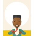 Happy Working african man to change his clothes vector image