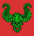 horror demonic skull with horns vector image