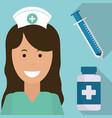 nurse medical syringe medicine bottle vector image