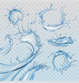 Set water splashes and flows vector image