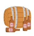 wooden barrel with bottles of beer design vector image