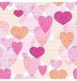 Textured fabric hearts seamless pattern background vector image vector image