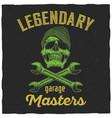 legendary garage masters poster vector image vector image