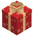 Christmas gift box isometric vector image