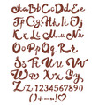chocolate english alphabet brown handwritten vector image