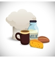 collection breakfast ingredients hat chef vector image