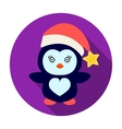 Penguin in the Christmas cap icon in flat style vector image