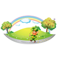 A man in the street holding a clover plant vector image vector image