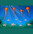 jellyfish and fish swimming under the sea vector image