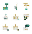 assembly of flat shading style icon set gifts and vector image