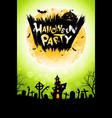 halloween party poster with haunted house vector image
