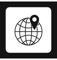 Globe and map pointe icon simple style vector image