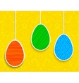 Easter background with hanging on the ropes eggs vector image