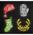 Christmas silhouettes mitten chalk vector image