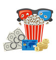 color pop corn 3d glasses and money credit card vector image