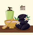color poster of spa center with cream dispenser vector image