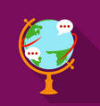 globe of various languages icon in flat style vector image