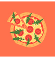 Hot pizza slice with melting cheese of margherita vector image