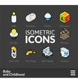 Isometric outline icons set 60 vector image