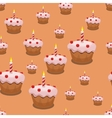 Seamless cupcake background vector image