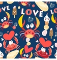 Seamless jolly pattern with crabs in love vector image