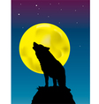 wolf howling at the moon background vector image