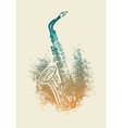 saxophone with floral patterns vector image vector image