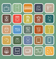 Household line flat icons on green background vector image