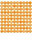 100 department icons set orange vector image