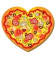 heart shaped pizza vector image vector image