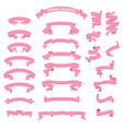 collection cute pink ribbon for any decoration vector image