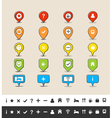 Hand drawn GPS pin and map icon set vector image