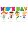 kids day poster with kids jumping vector image