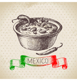 Mexican traditional food background with chili vector image