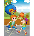 Two boys playing basketball outside vector image